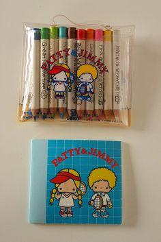 Patty & Jimmy mini pencil set & note book 1976 Sanrio by lucychan80, via Flickr