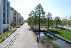 Aménagement récent des Rives de Meurthe par l'architecte-paysagiste Alexandre Chemetoff, vaste quartier de 300 ha s'étendant entre la Meurthe et le canal de la Marne au Rhin