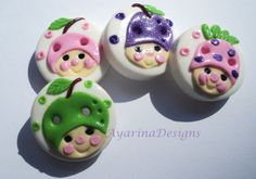 Fruit faces - set of 4 polymer clay buttons