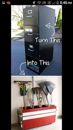 20 Creative Furniture Hacks :: Turn an old file cabinet into garage storage! - 20 Creative Furniture Hacks :: Turn an old file cabinet into garage storage! Unusual Furniture, Diy Furniture Hacks, Repurposed Furniture, Furniture Projects, Diy Furniture Upcycle, Diy Old Furniture Makeover, Refurbishing Furniture, Homemade Furniture, Antique Furniture