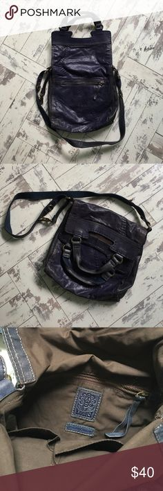 Lucky Brand Distressed Leather Cross-body Bag Navy blue distressed leather purse. Can be carried over the shoulder, cross-body, or in nook of elbow. One outside zip pocket, one inside zip pocket, two inner pouches for keys/cell/lipgloss. Lucky Brand Bags Crossbody Bags