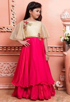 Buy Cream N Pink Art Silk Net Kids Gown online, SKU Code: This Pink color girls gown for Kids comes with Sequins Net . Kids Party Wear Dresses, Kids Dress Wear, Kids Gown, Kids Wear, Gowns For Girls, Frocks For Girls, Little Girl Dresses, Girls Dresses, Baby Frocks Designs