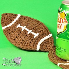 Free Football Coaster crochet pattern from The Hooked Haberdasher
