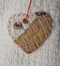 BLOOMIN BUTTONS Heart Snippet Ornament - Stitched From Recycled Vintage Quilt Piece - Featuring Old Buttons