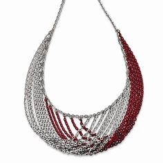 Sterling Silver Rhodium & Red Plated Multi Strand Necklace  #ModernByMegeanContemporaryJewelry