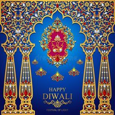 Illustration about Happy Diwali festival card with gold diya patterned and crystals on paper color Background. Illustration of editable, background, floral - 120246964 Diwali Greetings, Diwali Wishes, Happy Bhai Dooj Images, Happy Diwali Pictures, Indian Wedding Cards, Hindu Festivals, Diwali Festival, Peacock Design, Festival Lights