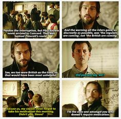 Sleepy Hollow.....Love, love, love, love the writing in this show. Historical sarcasm!