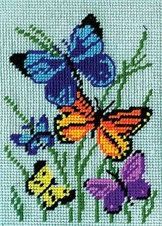 Design Works Crafts 2569 Needlepoint Kit, Butterflies Galore, X Needlepoint Kit Butterflies Galore Needlepoint Kits, Amazon Art, Sewing Stores, Cross Stitch Patterns, Sewing Crafts, Butterflies, It Works, Arts And Crafts, Color