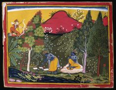 Cupid Disturbs Krishna's Penance, Page from a Gita Govinda Series, ca. 1650-1660. Opaque watercolor and gold on paper, Sheet