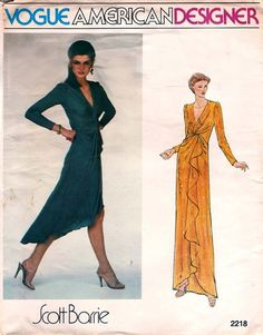 Vogue American Designer 2218; ca. 1979; Scott Barrie - Misses Dress. For Stretchable Knits Only. Dress, fitted through the bustline, mid-knee in