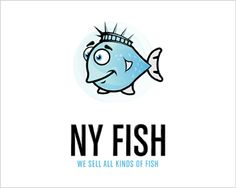 """New York Fish"" by Milovanovic. Finalist in the ""Best Illustrative Logo"" category in the BrandCrowd logo contest. RRP $505"