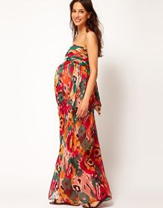 Enlarge ASOS Maternity Exclusive Bandeau Maxi Dress In Print-for B's party Asos Maternity, Maternity Beach Dresses, Maternity Evening Wear, Cute Maternity Outfits, Pregnancy Outfits, Maternity Fashion, Pregnancy Style, Maternity Style, Maxis