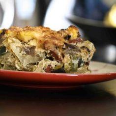 sausage & summer vegetable casserole w/ cheesy polenta