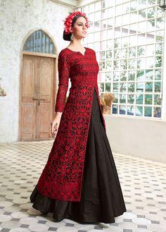 Black designer wear Indian lehenga with long embroidered choli #LehengaCholi #Red #Reception #Wedding