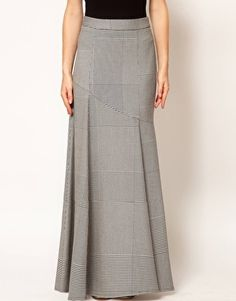 Aumentar Falda larga con diseño de pata de gallo de ASOS