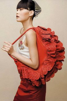 big red ruffle purse
