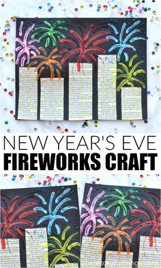 This mixed media New Year's Eve Fireworks Craft is a great art project for kids of all ages to make for your New Year's Eve celebration. The use of newspaper gives this beautiful fireworks craft a fun recycled element and the bright colors and sparkly glitter glue make the fireworks pop off the paper. #newyearseve #mixedmediaart #fireworks #kidscrafts #kidcrafts #iheartcraftythings #artprojectsforkids #artproject