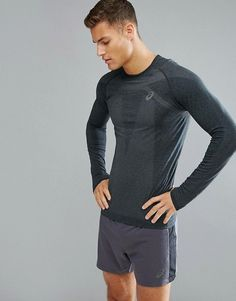 9891dd456f Shop Asics Running seamless compression long sleeve top in black at ASOS.