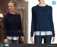 Penny's blue striped layer sweater on The Big Bang Theory.  Outfit Details: https://wornontv.net/61968/ #TheBigBangTheory