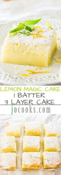 Lemon Magic Cake Recipe via Jo Cooks - one simple batter that turns into a 3 layer cake. The popular magic cake now in lemon flavor. The BEST Easy Lemon Desserts and Treats Recipes - P(Easy Cake Lemon) Lemon Magic Cake Recipe, Magic Cake Recipes, Sweet Recipes, Magic Recipe, Brunch Recipes, Easy Recipes, Magic Custard Cake, Delicious Desserts, Yummy Food