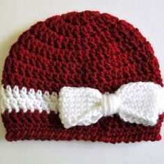 Begginer Crochet Projects For Kids Free Pattern Crochet Bow And Ribbon Ba Hat Classy Crochet Bonnet Crochet, Crochet Cap, Crochet Beanie, Knitted Hats, Baby Hat Crochet, Easy Crochet Headbands, Loom Knitting, Knitting Patterns, Crochet Patterns