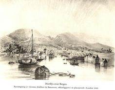Bergen 1840  Flott tegning av Bergen havn som viser den spesielle tønna som var oppankret ved innseilingen. Her måtte fartøyene betale havneavgift , kontant vil jeg tro.