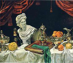 Still Life with Silver Ware ~ Giorgio de Chirico