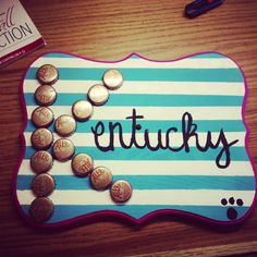 I don't even drink Ale81, I know, seems like a sin but still cute idea. Kentucky craft fun with ale81 bottle caps