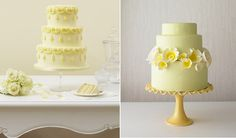 summer wedding cake ideas | Lemon wedding cakes by Peggy Porschen (left) and The Cake Girls (right ...