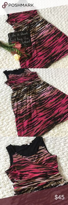 "Boston Proper animal print front wrap dress Very nice animal print dress by Boston Proper!! It has a wrap design in the front and you can tie it in the front or knot it in the back. Size L. 18"" arm pit to arm pit. 36.5"" length. Boston Proper Dresses"