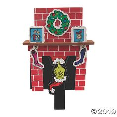 Uh oh! Here he comes to steal all the Christmas cheer! A Seussical addition to Christmas crafts for kids, this fireplace shows the Grinch popping down a . Whoville Christmas Decorations, Christmas Door Decorating Contest, Grinch Decorations, Grinch Christmas Party, Christmas Crafts For Kids, Grinch Party, The Grinch Door Decorations For School, Christmas Ideas, Frozen Decorations