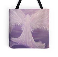 Guardian Angel Painting art artwork for sale on tote bag, throw pillow, coffee travel mug, lavender purple, by Adri of Minding My Visions www.mindingmyvisions.com