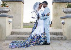 A Bohemian Themed Wedding In An Ndebele Dress Wedding Dress With Veil, White Wedding Dresses, Designer Wedding Dresses, African Wedding Theme, African Wedding Attire, Couples African Outfits, South African Weddings, Nigerian Weddings, African Traditional Wedding Dress