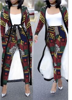 Casual Geometric Printed Two-piece Pants Set – NV Plus Size Best African Dresses, African Fashion Ankara, African Inspired Fashion, Latest African Fashion Dresses, African Print Dresses, African Print Fashion, Africa Fashion, African Attire, Modern African Fashion