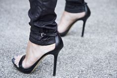 Leather on leather = dangerously chic #ShoeTime