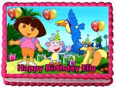 Dora the explorer ediblw image cake and cupcake toppers