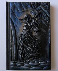 Reaper larger A5 polymer clay journal horror gothic by ClaymanPL