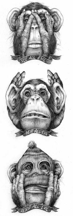 Resist All Evil We Must Remain Unadapted Pat Perry Art Gallery Pat Perry, Monkey Drawing, Monkey Art, Art And Illustration, Illustrations, Evil Art, Wise Monkeys, Desenho Tattoo, Art Drawings