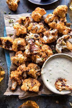 Spicy Cauliflower Cheese Bites with Tahini Ranch | halfbakedharvest.com #cauliflower #healthy #recipe
