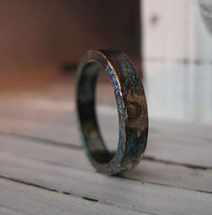 Mens Oxidized Silver Wedding Band by HotRoxCustomJewelry on Etsy
