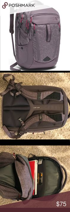 North Face Women's Surge Backpack - Purple/Gray Lightly used and in perfect condition just not right for me! Like new condition with laptop pocket. Offers accepted! North Face Bags Backpacks
