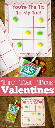 The cutest kids Valentine cards ever!! Free printable Valentine tic tac toe boards, then just pair it with a box of colored candies! via /thetypicalmom/