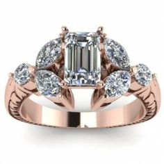 Rose Gold Emerald Shape Diamond Engagement Ring - A distinguishable design comes with this vintage style 14k Rose Gold Emerald Shape Diamond Engagement Ring.