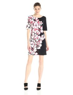 MSK Women's Floral Placement-Print Dress at Amazon Women's Clothing store: