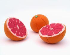 Toy fruits Grapefruit Felt play food Waldorf toys