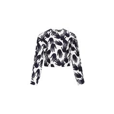 Sonia Rykiel Hand Print Satin Back Cotton Top (1.485 BRL) ❤ liked on Polyvore featuring tops, satin top, print top, white top, boxy top and pattern tops