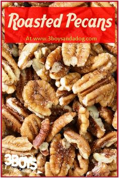 Southern Roasted Pecans - Everything Yummy - Sides, Drinks, Appetizers and More - Pecan Recipes Easy Appetizer Recipes, Snack Recipes, Cooking Recipes, Savory Snacks, Party Recipes, Keto Snacks, Delicious Recipes, Toffee, Fudge