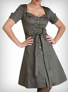 "Femme Arsenal Military Dress | ""This sassy shirt-dress dress looks like it stepped straight out of the 1940's! Made of army green stretch twill with loads of retro military flair, it features a tailored cut with cuffed short sleeves, a sexy neckline trimmed in a pointed collar, antiqued brass button accents, a matching belt, and a flared knee-length skirt."""