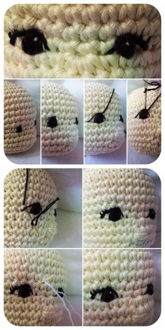 #haken, amigurumi, pop, knuffel, gratis tutorial (Engels) met foto's, ogen borduren, #crochet, amigurumi, free tutorial making eyes for you doll