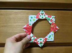 【折り紙】6枚の折り紙で作るリース Origami Wreath - YouTube